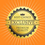 Exclusive Quality Best Choice Premium Golden Label. 100 guarantee sticker award, vector certificate label with crown on orange with rays Stock Illustration