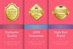 Exclusive Quality 100 Guarantee High Brand Label. Exclusive quality 100 guarantee high end brand golden labels set award emblems isolated on pink. Vector Royalty Free Stock Photography