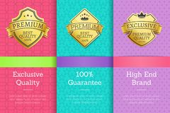 Exclusive Quality 100 Guarantee High Brand Labels. Exclusive quality 100 guarantee high end brand premium best golden labels sticker awards, vector illustration Stock Image