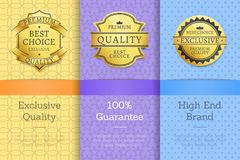 Exclusive Quality 100 Guarantee High End Labels. Exclusive quality 100 guarantee high end check golden labels set of logos design on colorful posters with text Royalty Free Stock Images