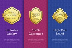 Exclusive Quality 100 Guarantee High End Labels. Exclusive quality 100 guarantee high end check golden labels set of logos design on colorful posters with text Stock Images