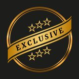Exclusive quality label. On black background. Vector illustration Royalty Free Stock Image