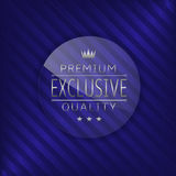 Exclusive quality label. Exclusive premium quality label. Glass badge with silver text, Luxury emblem Stock Photography