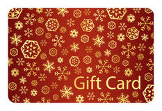 Exclusive red christmas gift card with golden snow Royalty Free Stock Images