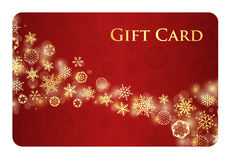 Exclusive red christmas gift card with stream of g Stock Photos