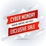 Exclusive sale with 50-70% discount offer, sale tag or label on. Gray abstract background for Cyber Monday Sale concept stock illustration