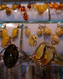 Jewelery with amber for women royalty free stock photography