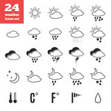 Exclusive set of weather forecast  icons Stock Photo
