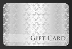 Exclusive silver gift card with damask ornament Royalty Free Stock Photography