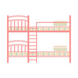 Exclusive sleeping furniture design bedroom bunk bed with pillow and interior room comfortable home relaxation apartment. Exclusive sleeping furniture design stock illustration