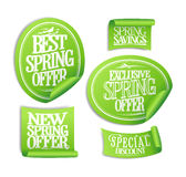 Exclusive spring offer stickers set, spring savings Royalty Free Stock Images