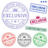 Exclusive stamp. The different exclusive colored stamp isolated on white background Royalty Free Stock Image