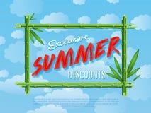 Exclusive summer discounts cartoon poster Stock Image