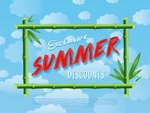 Exclusive summer discounts cartoon poster Royalty Free Stock Photography