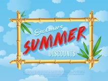 Exclusive summer discounts cartoon poster Stock Photography