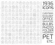 Exclusive 1936 thin line icons set. Stock Images
