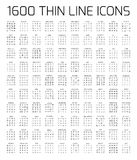 Exclusive 1600 thin line icons set stock illustration