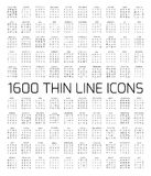Exclusive 1600 thin line icons set. Big package of modern minimalistic pictograms for mobile UI or UX kit, infographics and web sites. High quality bell Stock Photography