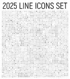 Exclusive 2025 thin line icons set. Royalty Free Stock Photography