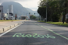 Exclusive tracks change Rio vehicle traffic for Rio 2016 Royalty Free Stock Photo