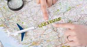 Exclusive trip for two to Las Vegas. On holidays, panorama royalty free stock images