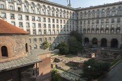 Exclusive view of Rotunda Sveti Georgi St Gregory in Sofia, Bulgaria. From the photographer`s apartment Stock Photos