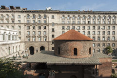Exclusive view of Rotunda Sveti Georgi St Gregory in Sofia, Bulgaria. From the photographer`s apartment Royalty Free Stock Photography