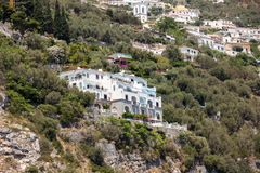 Exclusive villas and apartments on the rocky coast of Amalfi. Campania. Italy royalty free stock image