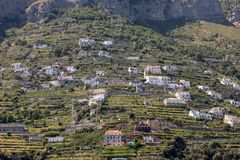 Exclusive villas and apartments on the rocky coast of Amalfi. Campania. Italy royalty free stock photos