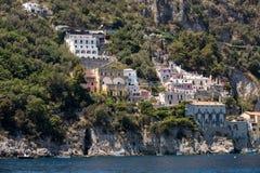 Exclusive villas and apartments on the rocky coast of Amalfi. Campania Stock Photos