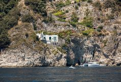 Exclusive villas and apartments on the rocky coast of Amalfi. Campania Royalty Free Stock Image