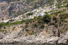 Exclusive villas and apartments on the rocky coast of Amalfi. Campania. Italy stock images