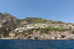 Exclusive villas and apartments on the rocky coast of Amalfi. Campania. Italy stock photography