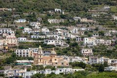 Exclusive villas and hotels on the rocky coast of Amalfi. Campania Royalty Free Stock Images