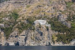 Exclusive villas and hotels on the rocky coast of Amalfi. Campania. Italy stock photos