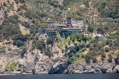 Exclusive villas and hotels on the rocky coast of Amalfi. Campania. Italy stock images