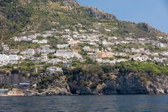 Exclusive villas and hotels on the rocky coast of Amalfi. Campania Royalty Free Stock Photos