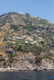 Exclusive villas and hotels on the rocky coast of Amalfi. Campania. Italy royalty free stock photo