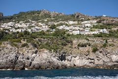 Exclusive villas and hotels on the rocky coast of Amalfi. Campania. Italy royalty free stock photography