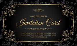 Luxury black and gold invitation card in vintage style Stock Photos