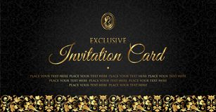 Luxury black and gold invitation card design - vintage style Royalty Free Stock Image