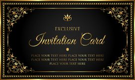 Luxury invitation card in vintage black and gold style Stock Photography