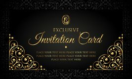 Invitation card luxury design - black and gold vintage style stock photos