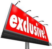Exclusive Word Billboard Sign Special Restricted Access Content Royalty Free Stock Photo