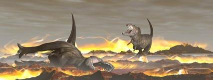 Exctinction del dinosaurio del tiranosaurio - 3D rinden Imágenes de archivo libres de regalías