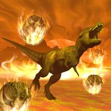 Exctinction del dinosauro di tirannosauro - 3D rendono Immagine Stock Libera da Diritti