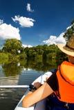 Excursão do caiaque e o rio Imagem de Stock
