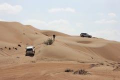 Excursão do jipe - areias de Wahiba, Omã fotografia de stock
