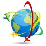 Excursão do mundo com aviões e globo Foto de Stock