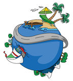 Excursão do mundo da água da praia ilustração do vetor
